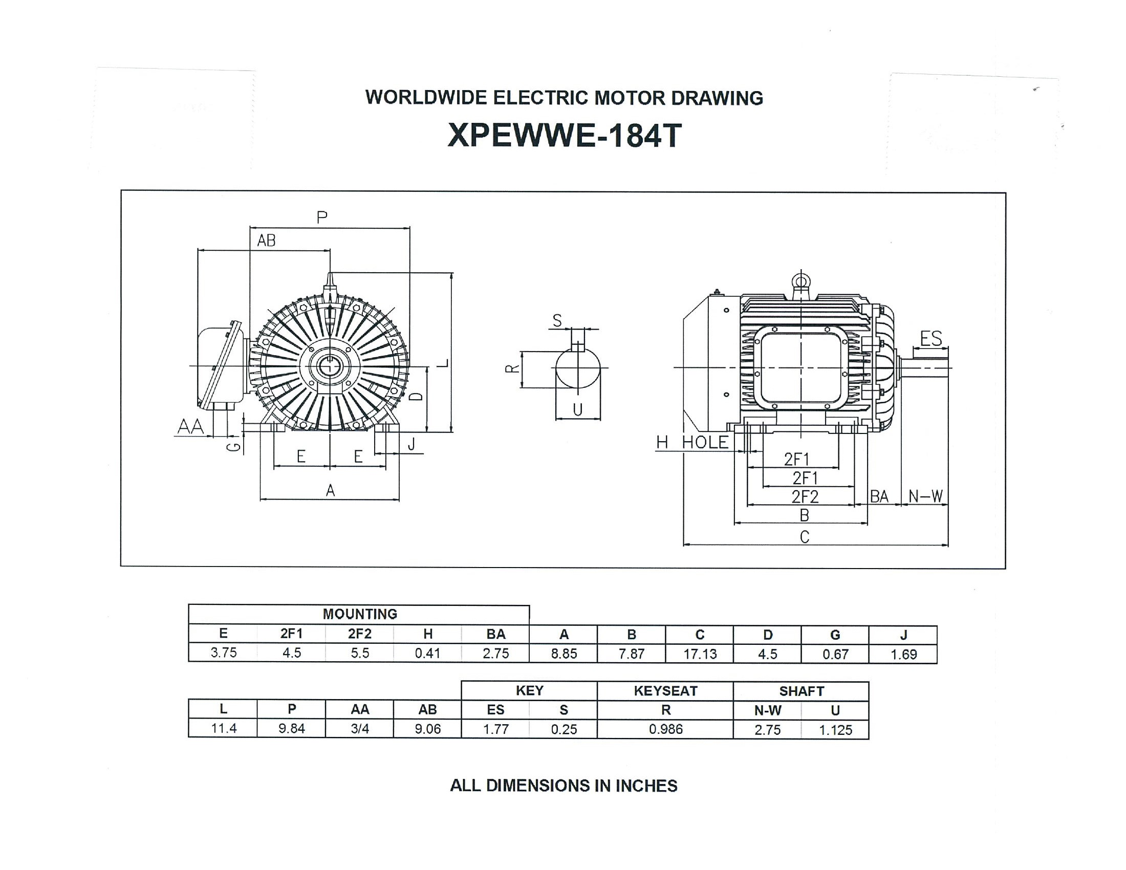 WORLDWIDE XPEWWE5-18-184T 5HP EXPLOSION PROOF MOTOR-1